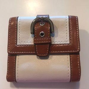 Coach Mini Bifold Wallet Cream Trimmed in Brown